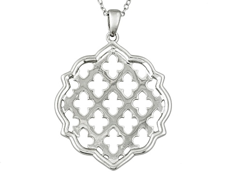 Rhodium Over Sterling Silver Pendant With Chain 18 inch