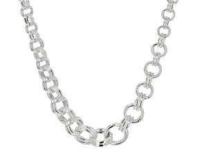 Sterling Silver Hollow Graduated Double Rolo Link Necklace 18 inch