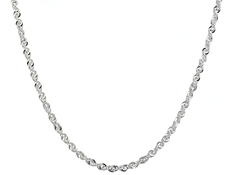 Sterling Silver Rope Link Chain Necklace 20 inch 2.5mm