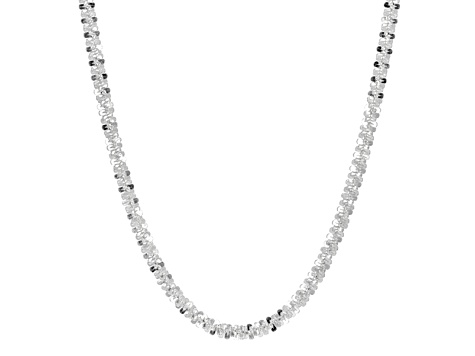 Sterling Silver Criss Cross Link Chain Necklace 24 inch