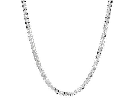 Sterling Silver Criss Cross Link Chain Necklace 30 inch