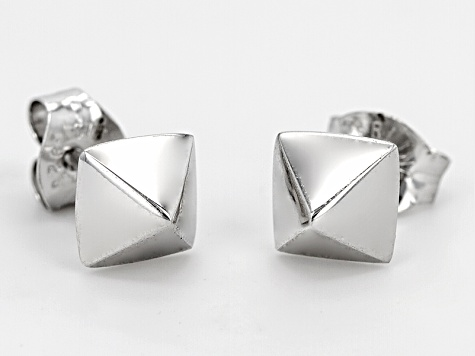 Rhodium Over Sterling Silver Stud Earrings