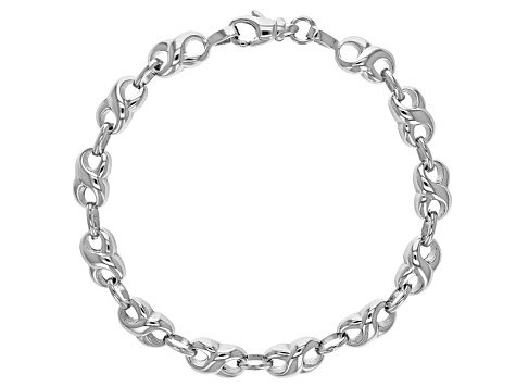 Rhodium Over Sterling Silver infinity Link Bracelet 7.5 inch 6mm