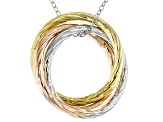14k Rose & Yellow Gold Over Silver & Rhodium Over Silver Hollow Pendant With Chain