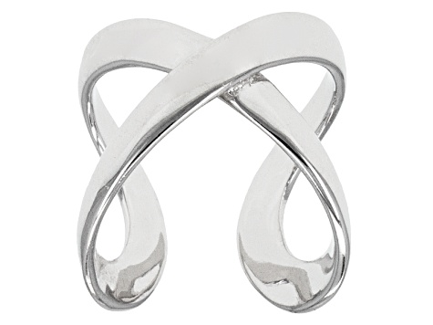 Rhodium Over Sterling Silver Crossover Ring