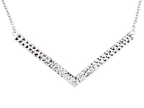 Rhodium Over Sterling Silver Chevron Necklace 18 inch