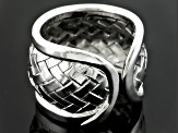 Rhodium Over Sterling Silver Basket Weave Ring