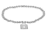 Sterling Silver Hollow Stretch Bead Lock Charm Bracelet 6.25 inch