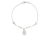 Sterling Silver Hollow Diamond Cut Bead Rosary Bracelet 7.25 inch