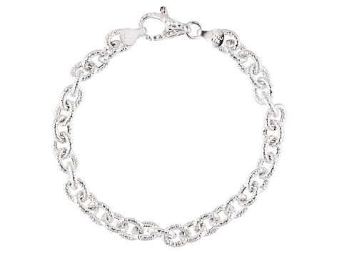 Sterling Silver Hollow Cable Link Bracelet 8 inch