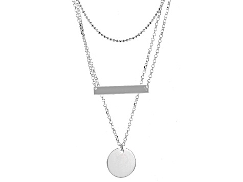 Sterling Silver Bar And Disc Station Necklace 18 inch