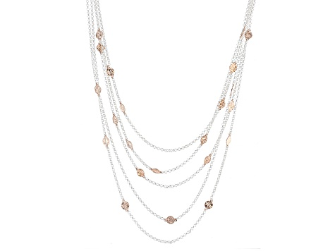 18k Rose Gold Over Silver And Silver Multi Strand Rolo Link Necklace 18 inch