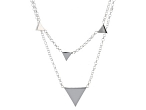 Sterling Silver Multi-Strand Triangle Stations Necklace 18 inch