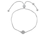 Sterling Silver Circle Station Sliding Adjustable Bracelet 8.5 inch
