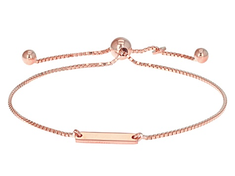 18k Rose Gold Over Silver Bar Station Sliding Adjustable Bracelet 8.5 inch