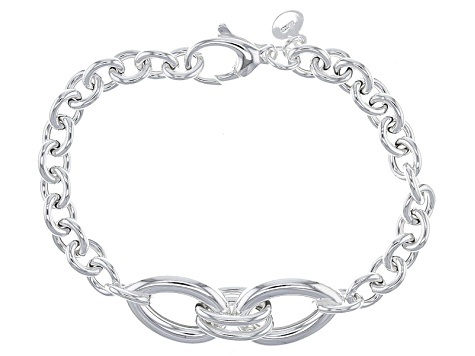 Sterling Silver Hollow Cable Link With Center Station Bracelet 8 inch