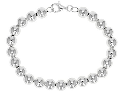 Sterling Silver Hollow Beaded Cable Link Bracelet 8 inch