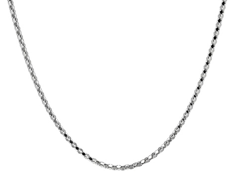 Rhodium Over Sterling Silver Sliding Adjustable Popcorn Link Chain 24 inch