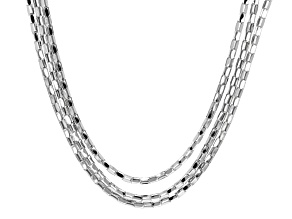 Rhodium Over Sterling Silver Multi Strand Necklace 20 inch