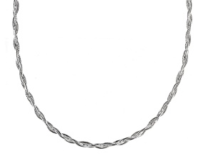 Sterling Silver Braided Snake Link Necklace 17 inch