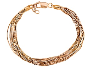 18k Rose Gold Over Sterling Silver Snake Link Bracelet 7.25 inch