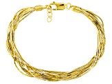 18k Yellow Gold Over Sterling Silver Snake Link Bracelet 7.25 inch
