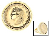 Lire Coin 18k Yellow Gold Over Silver Ring