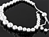 Sterling Silver Hollow Bead Sliding Adjustable Bracelet 8.5 inch