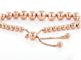 18kt Rose Gold Over Sterling Silver Bead Adjustable Bracelet 8.5 inch