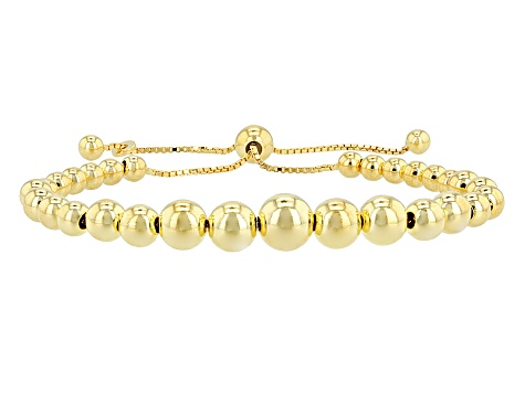 18kt Yellow Gold Over Sterling Silver Bead Adjustable Bracelet 8.5 inch