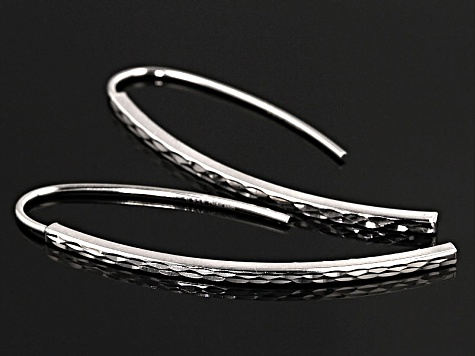 Rhodium Over Sterling Silver Drop Earrings