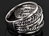Rhodium Over Sterling Silver Wrap Cording Ring