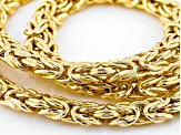 18k Yellow Gold Over Sterling Silver Flat Byzantine Link Chain Necklace 18 inch