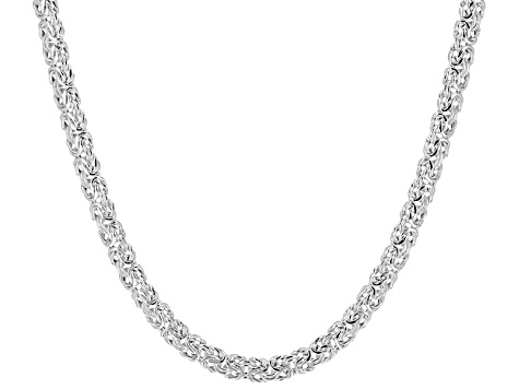 Sterling Silver Flat Byzantine Link Chain Necklace 20 inch 4.5mm