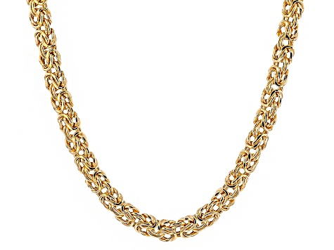 18k Yellow Gold Over Sterling Silver Flat Byzantine Link Chain Necklace 20 inch