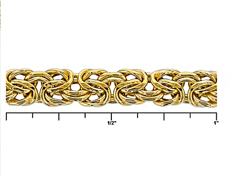 18k Yellow Gold Over Sterling Silver Flat Byzantine Link Chain Necklace 24 inch