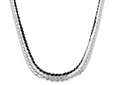 Sterling Silver Graduated Herringbone Link Necklace 18 inch