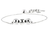 Sterling Silver Bead Stations Sliding Adjustable Bracelet 8.5 inch