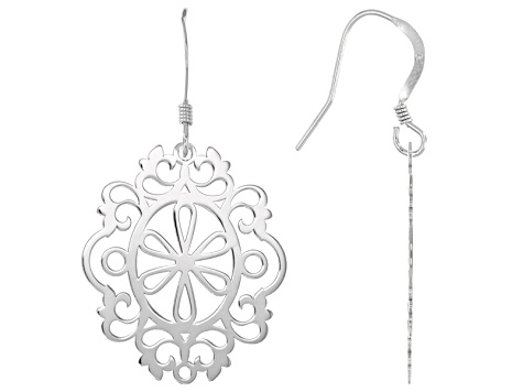 Rhodium Over Sterling Silver Laser Cut Filigree Dangle Earrings