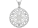 Rhodium Over Sterling Silver Filigree Pendant With Cable Link Chain 18 inch