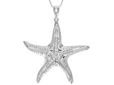 Rhodium Over Sterling Silver Starfish Pendant With Chain 18 inch