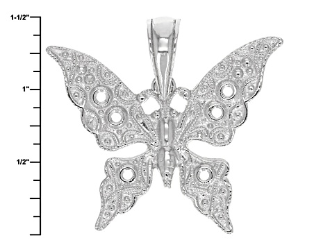Rhodium Over Sterling Silver Butterfly Pendant With Cable Link Chain 18 inch