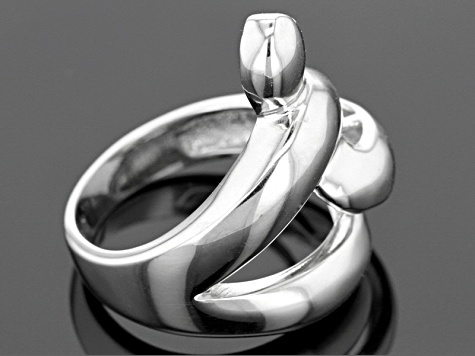 Rhodium Over Sterling Silver Split Band Coiled Snake Ring