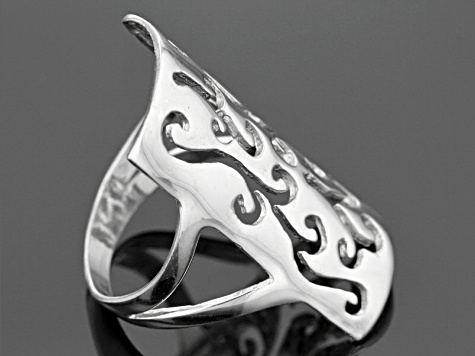 Rhodium Over Sterling Silver Rectangular Laser Cut Filigree Ring
