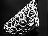 Rhodium Over Sterling Silver Scroll Ring