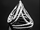 Rhodium Over Sterling Silver Oval Loop Ring