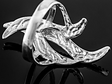 Rhodium Over Sterling Silver Flame Ring