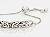 Rhodium Over Sterling Square Byzantine Link Station Bracelet 9.5 inch