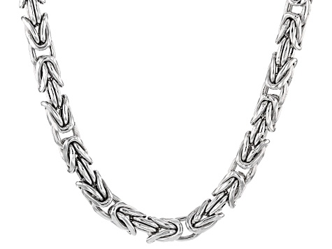 Rhodium Over Sterling Silver Square Byzantine Link Chain Necklace 22 inch