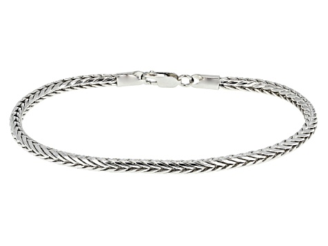 Rhodium Over Sterling Silver Square Foxtail Link Bracelet 8.5 inch 3.5mm